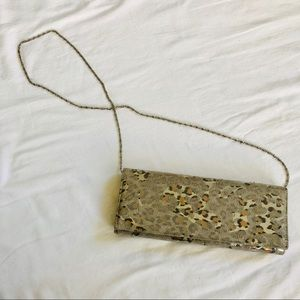 Handbags - Animal Print Shimmer Clutch with Chain Strap